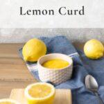 lemon curd and lemons on a blue towel