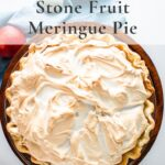 Overhead shot of stone fruit meringue pie