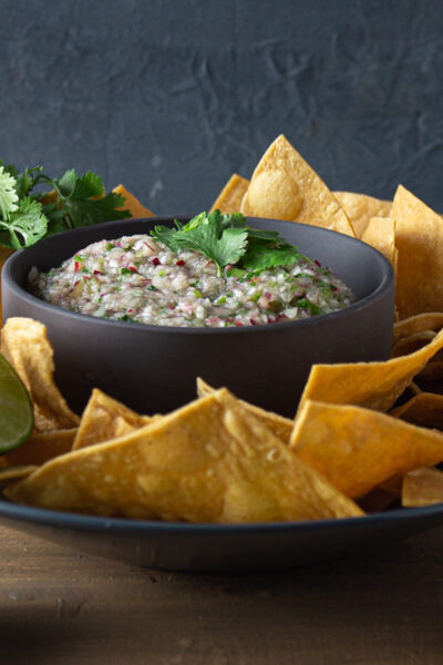 Side view salsa in a grey bowl with tortilla chips