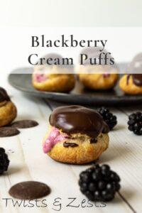 Blackberry cream puffs with text