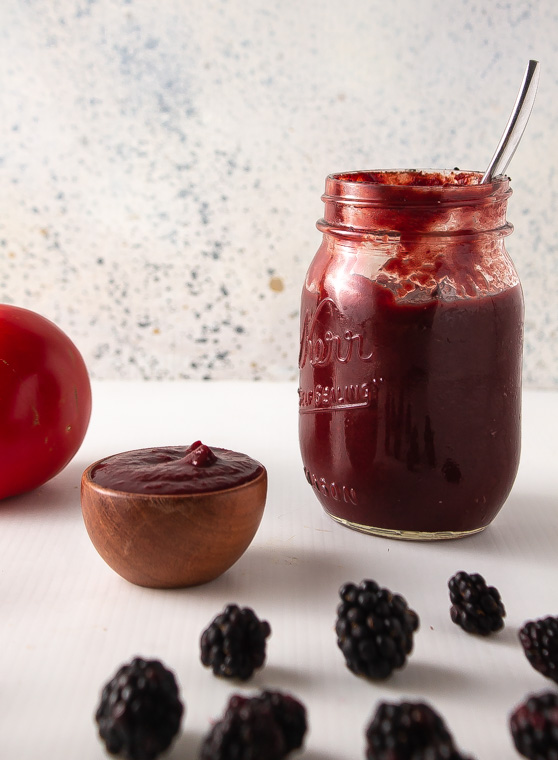 Jar of blackberry tomato ketchup