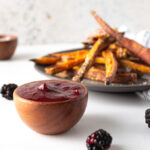 homemade Blackberry tomato ketchup with sweet potato fries