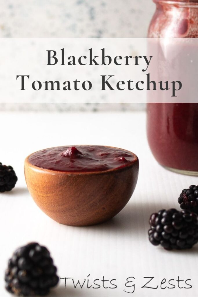 Dish of homemade blackberry tomato ketchup