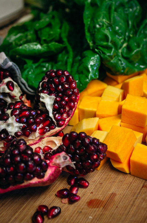 Pomegranate, chard and butternut squash
