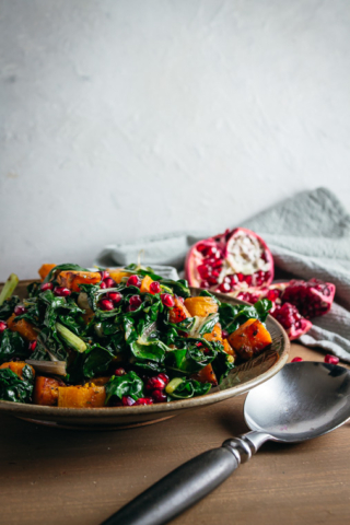 Side view of swiss chard and butternut squash saute