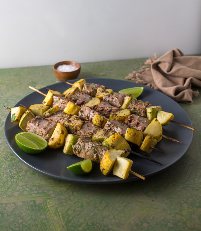 lime coriander tuna skewers with squash