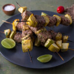 Lime corriander tuna skewers and squash