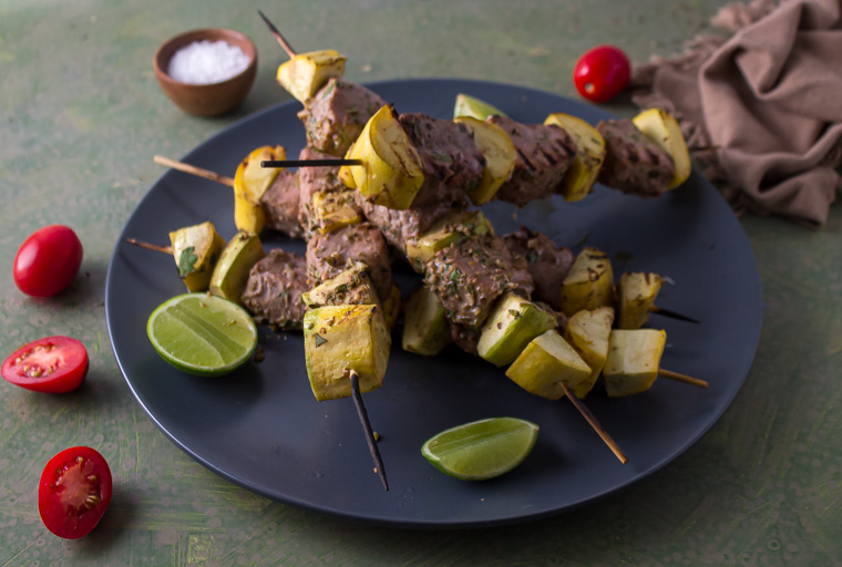 Lime Coriander Marinade with Grilled Tuna and Summer Squash Skewers
