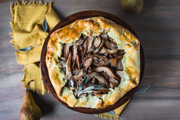 Pear Sage Galette with a Flaky Olive Oil Crust