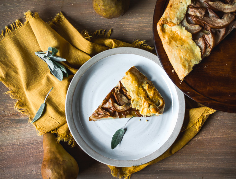 Overhead shot of slice of olive oil crust pear galette