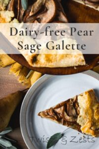 Pear sage galette slice with text