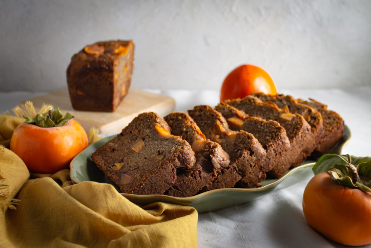 sliced persimmon bread with fuyu and hachiya persimmons