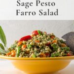 sage pesto farro salad with text