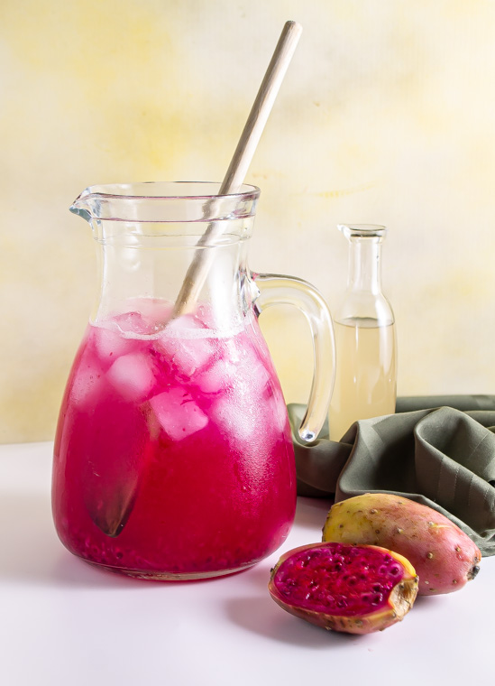 Prickly pear party punch in pitcher