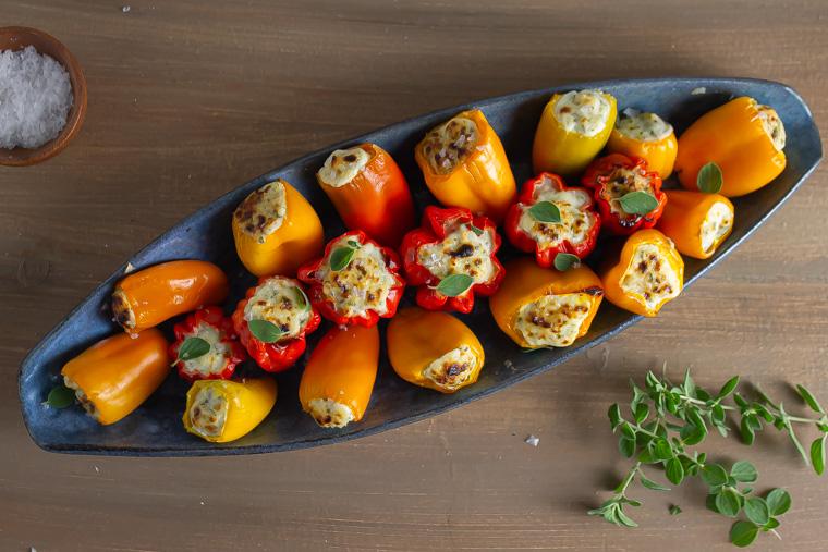Overhead shot riccot stuffed peppers