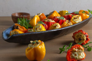 ricotta stuffed peppers in blue dish