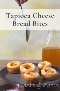 Honey drizzling on tapioca cheese bread pin