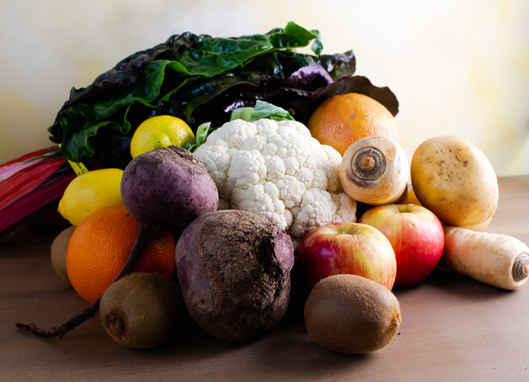 Procude from Golden gate organics box: beets, parrsnip. chard, apples, oranges, grapefruit, lemon, cauliflower, kiwi